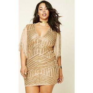 Forever 21 + Gold Sequin Fringe Dress (*worn once)